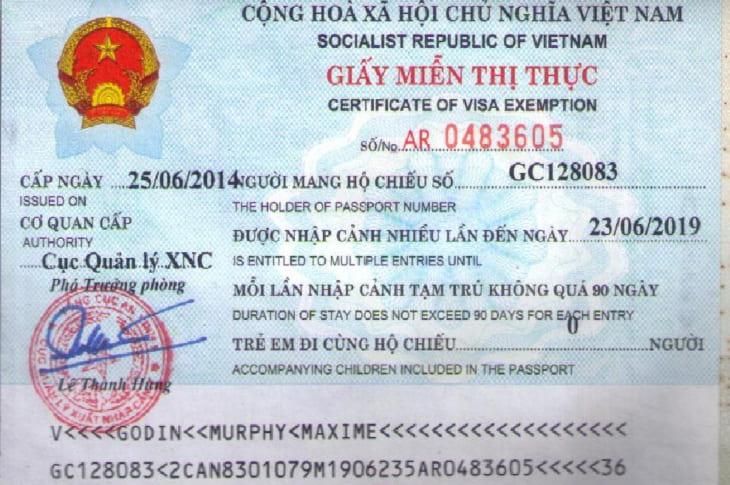 miễn thị thực Vietnam